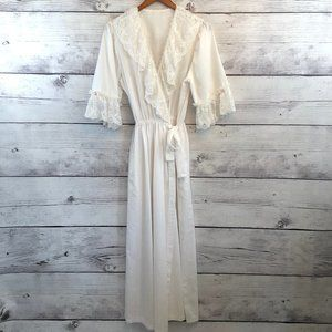 Vintage Henson Lace Trimmed Robe Womens Medium